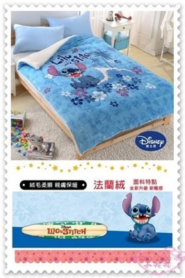 小花花日本精品♥ 《Disney迪士尼 》史迪奇 毯被 蓋毯 保暖毯被 暖暖被 法蘭絨 藍色 坐姿 (5.4折)