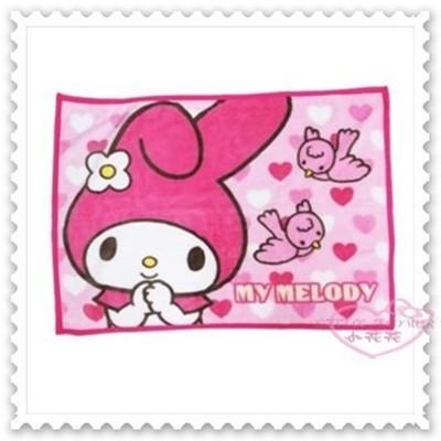 ♥小花花日本精品♥美樂蒂 隨身披肩毯 蓋毯 毛毯 粉色 愛心 滿版圖 小鳥 日本限定 (4.2折)
