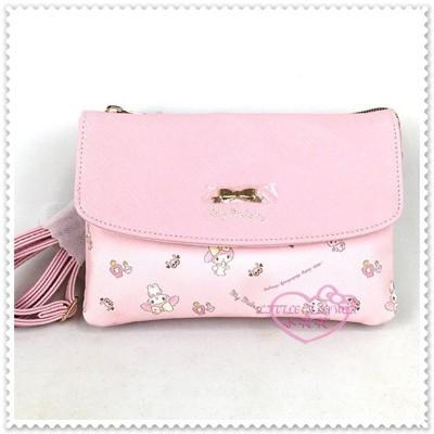 ♥小花花日本精品♥Hello Kitty 美樂蒂 粉色多夾層+手機防水袋 斜背包 42145301 (8.8折)