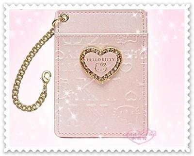小花花日本精品♥Hello Kitty 識別證套 卡片套 粉色 愛心 皮革 日本限定58841204 (8.1折)