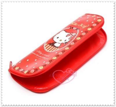 小花花日本精品♥ Hello Kitty 紅色 玫瑰花邊防水 環保餐具袋 11162209 (5.5折)