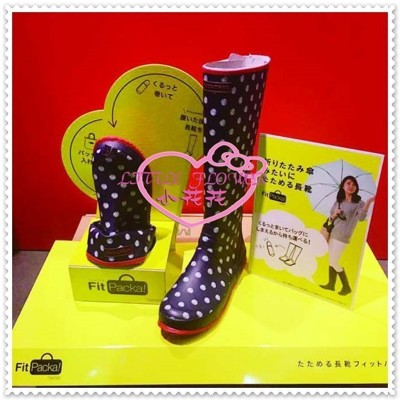 小花花日本精品♥ montrre 雨靴 長靴 雨鞋防水、防滑 可摺疊 藍色點點79008402 (8.9折)