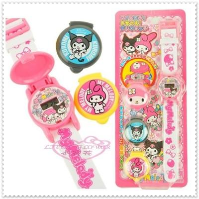 小花花日本精品♥ Hello Kitty 美樂蒂&酷洛米 電子錶附3款錶蓋 99912604 (5折)