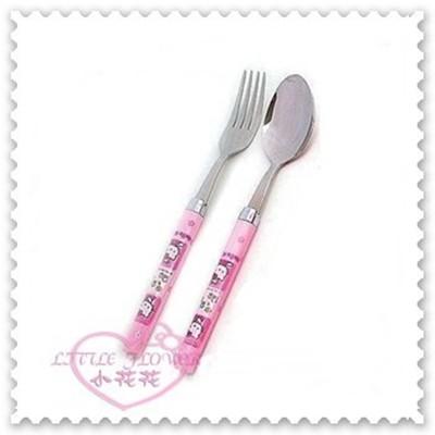 ♥小花花日本精品♥Hello Kitty 八角圓膠柄不鏽鋼湯匙叉子餐具組粉色韓製11151906 (3.5折)