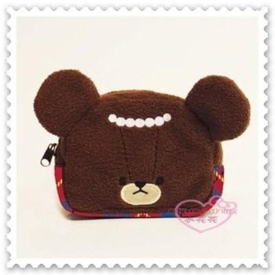 ♥小花花日本精品♥ 《Kumama》上學熊學校熊 化妝包 零錢包 小物包 絨毛化妝包42213604 (6.6折)