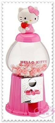 ♥小花花日本精品♥ Kitty立體公仔 坐姿 抱蘋果 扭蛋機 口香糖機 粉50114405 (5.5折)