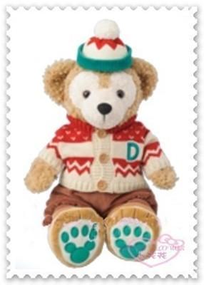 ♥小花花日本精品♥《Disney》Duffy 達菲 毛衣 毛帽配件組紅白條紋冬季限定50085101 (8.7折)
