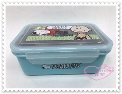 ♥小花花日本精品♥《snoopy》史努比 便當盒 不鏽鋼便當盒 餐盒 餅乾 坐姿 藍色 700c.c (3折)