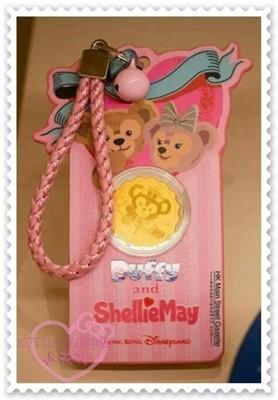 ♥小花花日本精品♥《DISNEY》迪士尼雪莉玫達菲品牌合作黃金純金吊飾鎖圈包包掛飾大頭粉色蝴蝶結造型 (5.5折)