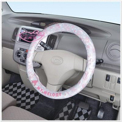 小花花日本精品♥Hello Kitty 美樂蒂 方向盤套 保護套 粉色點點 賠售88930701 (7.3折)