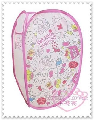 ♥小花花日本精品♥Hello Kitty 洗衣籃摺疊洗衣籃插畫風滿版居家必備攜帶方便33188508 (3.8折)