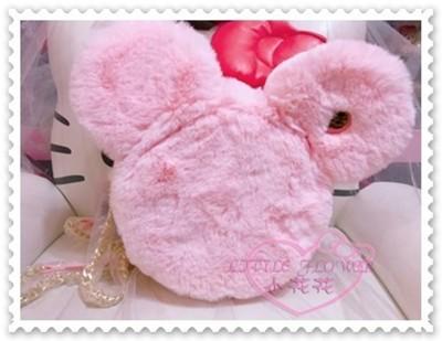 ♥小花花日本精品♥《Disney》迪士尼耳朵絨毛包斜背包單肩包外出包粉色附金鍊帶 96800805 (4.6折)