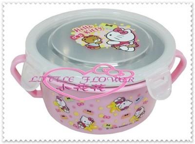 小花花日本精品♥Kitty不鏽鋼 雙耳蓋碗 不燙手湯杯 外出碗 樂扣碗 粉色小熊56869002 (5.8折)