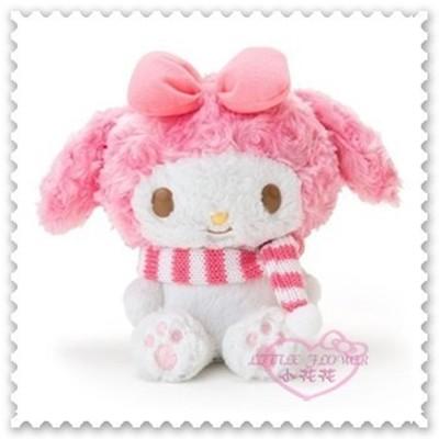 小花花日本精品♥美樂蒂 錄音娃娃 留聲玩偶 說話玩偶 坐姿 粉色條紋圍巾 50118205 (5折)