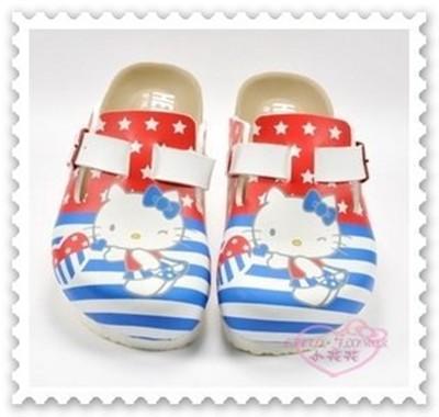 ♥小花花日本精品♥ Hello Kitty 美國國旗 勃肯鞋 拖鞋 休閒鞋 中大童台灣製816871 (6折)