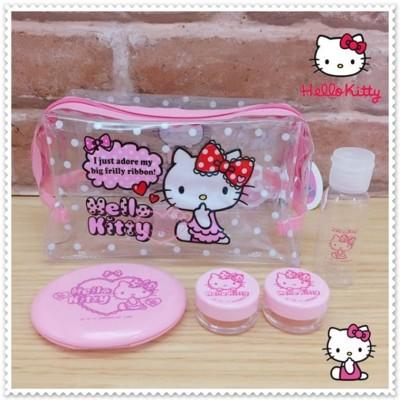 小花花日本精品♥Hello Kitty透明 防水 粉色 化妝包 旅行組 42212300 (6.3折)