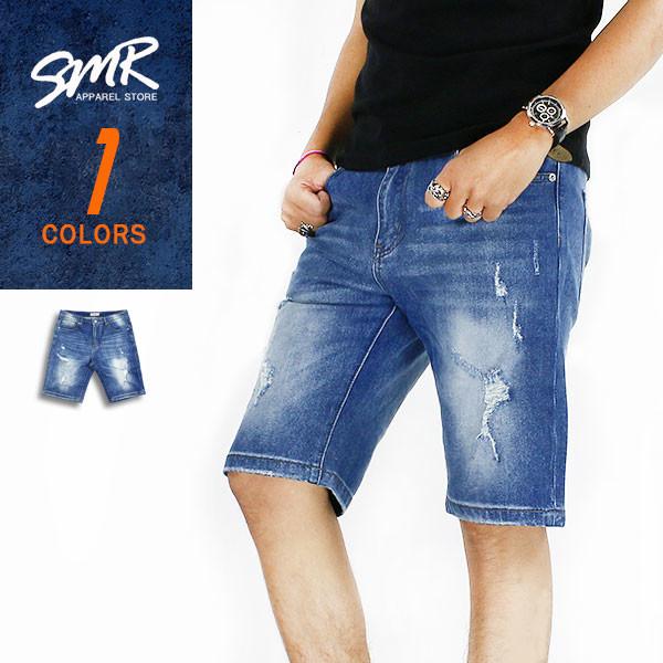 smr微破彈力牛仔短褲-藍色9999588