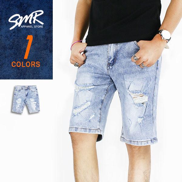 smr淺刷牛仔破短褲9999592--淺藍色