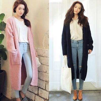 韓版 摩登時尚 排釦長版針織外套 大衣Honey bear (4.7折)