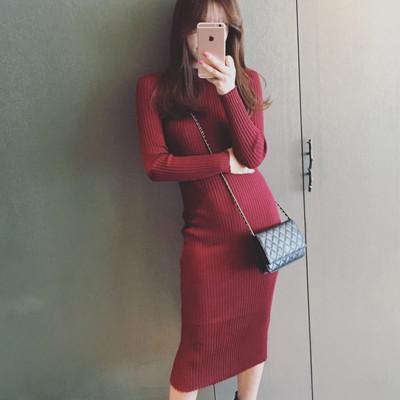 韓版螺紋針織中長款修身顯瘦連身裙 包臀裙HoneyBear (4折)