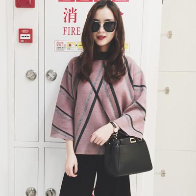 韓系半高領加厚喇叭袖撞色條紋毛衣套頭寬鬆短款針織衫HoneyBear (4.1折)