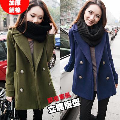 韓系修身顯瘦 挺版雙排釦大翻領毛呢大衣 外套 (4.1折)