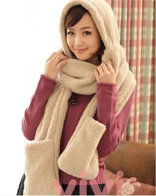秋冬保暖羊羔絨圍巾帽子手套一體 保暖多功能圍巾 (4.6折)