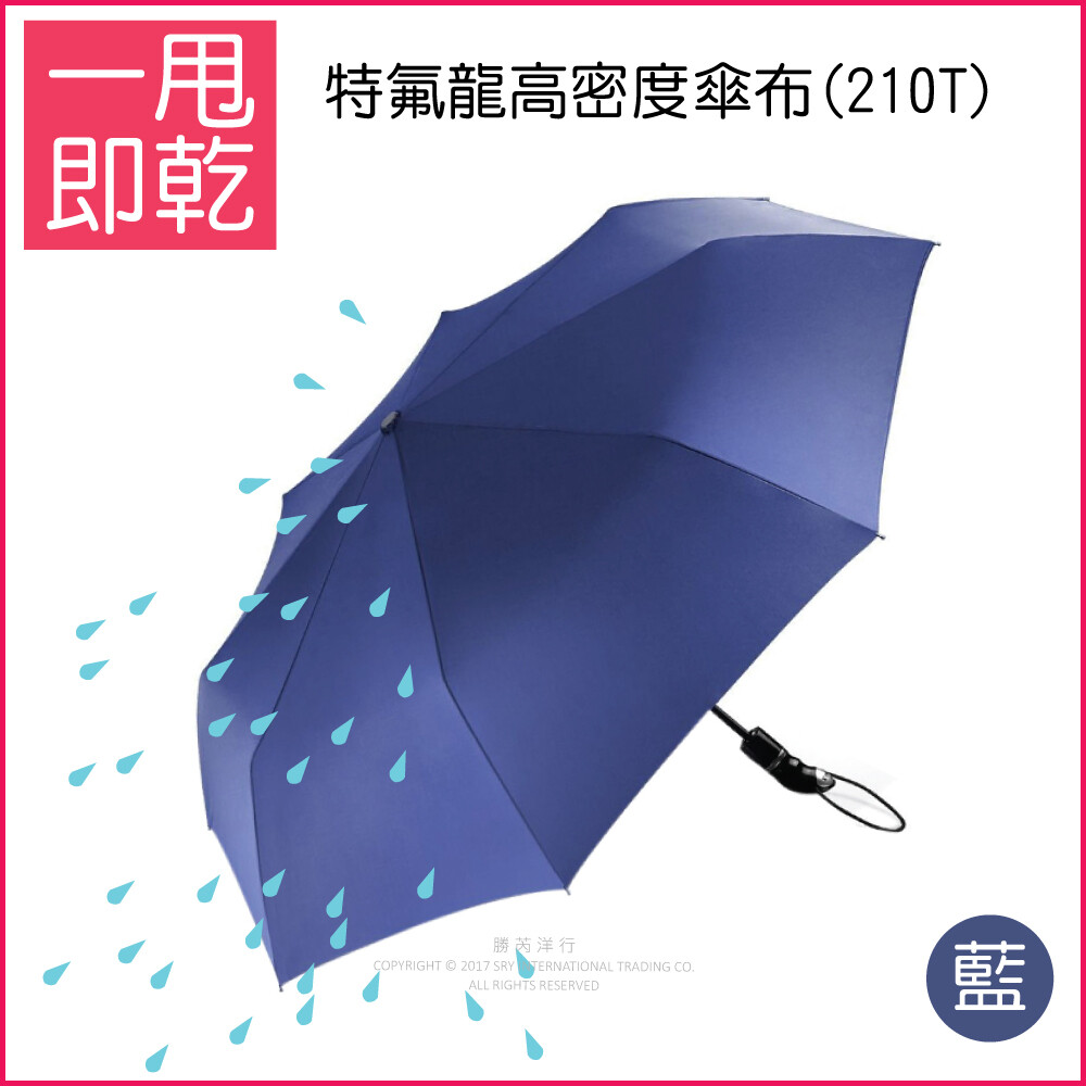 生活良品8骨210t鐵氟龍超強不沾水自動摺疊雨傘(一甩即乾瞬間秒乾傘)藏青藍