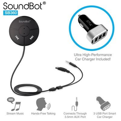 美國聲霸SoundBot SB360 車用藍牙4.0音樂接收播放分享,藍牙傳輸器,5.1A車用充電器 (7.1折)