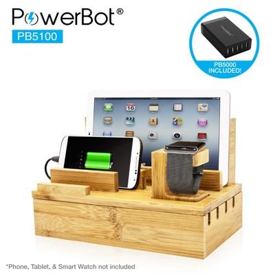 美國POWERBOT 竹製快速充電收納站 USB快速充電器 (7.3折)