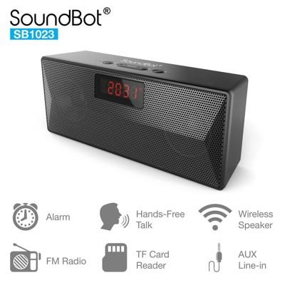 美國聲霸SoundBot SB1023 FM廣播藍牙喇叭時鐘鬧鐘 藍芽喇叭音響 (8折)