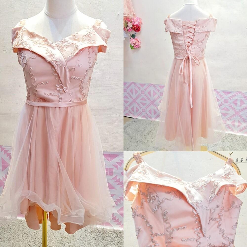 粉色前短後長後綁帶婚紗禮服伴娘服cntop