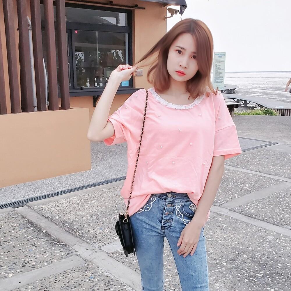 韓國珍珠蕾絲圓領長版t短袖上衣 cntop
