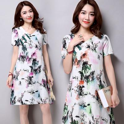 旗袍風彩繪印染亞麻洋裝 連身裙CNTOP (4.3折)