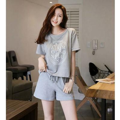 韓版舒適灰色休閒字母印花短袖T+短褲二件式套裝 居家服CNTOP (4折)
