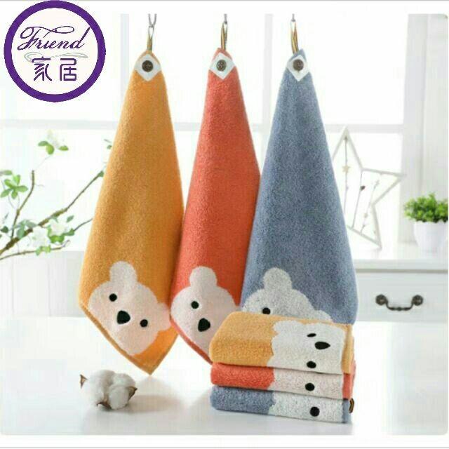 大+小合賣小熊純棉掛式擦手巾廚房小方巾(大號無掛繩)