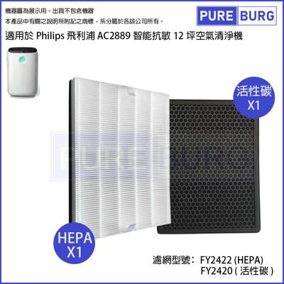【適用PHILIPS飛利浦AC2889】智能抗敏空氣清機濾網組HEPA+活性碳濾心 (7.3折)