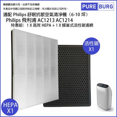 【適用Philips飛利浦】舒眠抗敏空氣清淨機AC1213 AC1212濾網組HEPA+活性碳濾心 (8.8折)