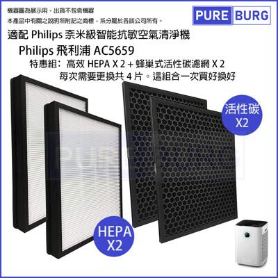 【適用Philip飛利浦】空氣清淨機AC5659濾網2片HEPA+活性碳 FY5185 FY5182 (7.4折)