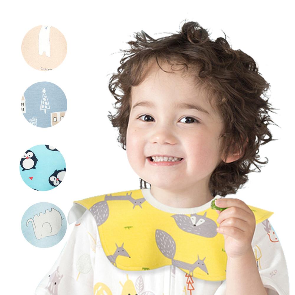 5條入muslintree嬰兒口水巾寶寶圍兜360度圓形花瓣防水圍嘴-mt9181