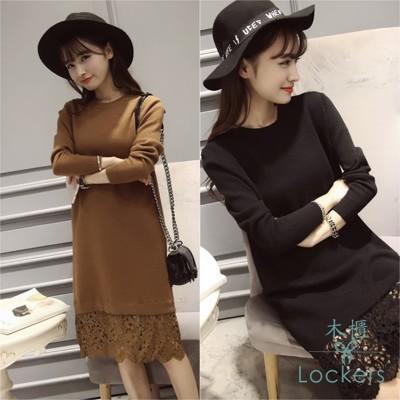 【Lockers 木櫃】寬鬆圓領蕾絲拼接針織衫連衣裙-2色 (3.5折)