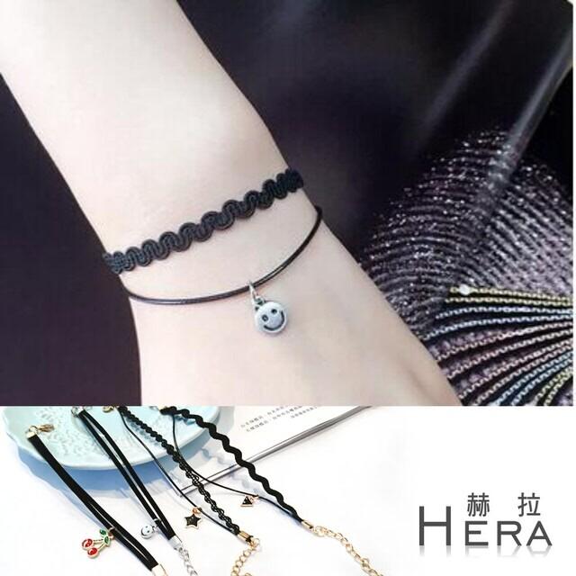 hera 赫拉原宿黑色雙層造型吊墜手鍊-2款