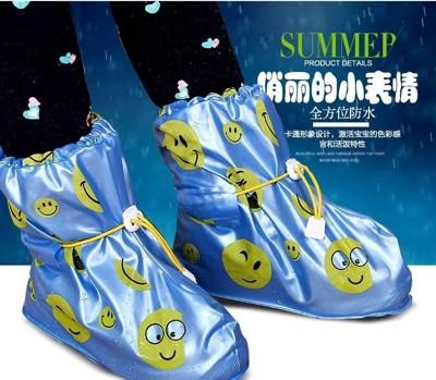 兒童雨鞋套 雨鞋套防水鞋套兒童防滑男女童平底鞋套加厚耐磨藍/粉兩色雨天必備 (2.1折)