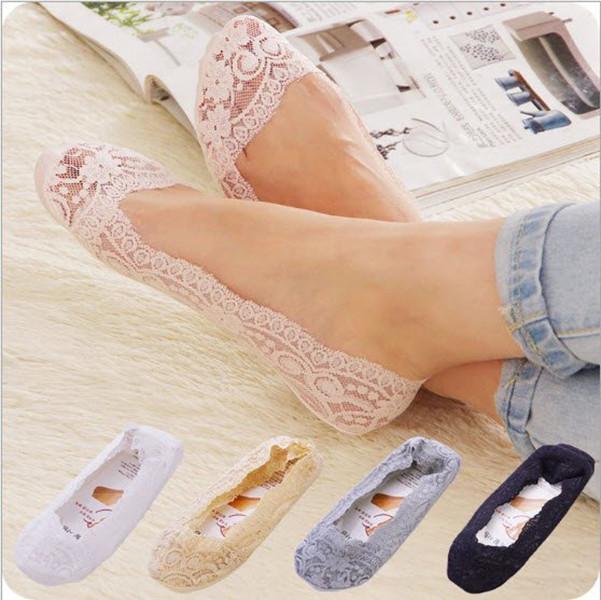 韓國蕾絲隱形襪冰絲淺口船襪整圈防滑矽膠後跟矽膠襪底防滑夏超薄絲襪女短襪船型襪短襪(黑色)