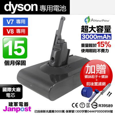 新銳動能 Dyson V8 V7 可用 大容量3000mAh 電池 40分鐘 建軍電器 贈前後濾網 (6.1折)