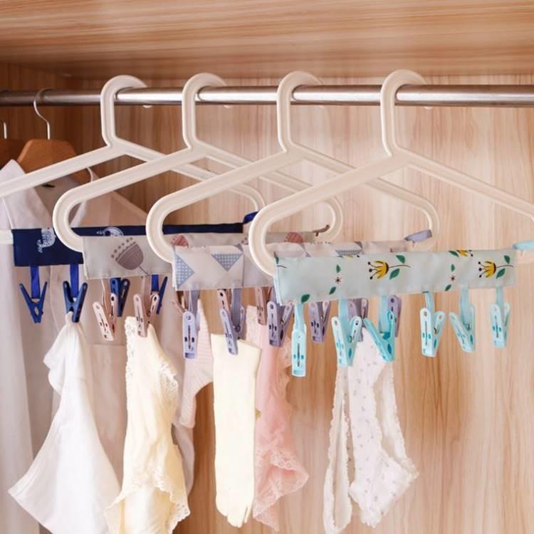 創意便攜式布藝衣架 可折疊出差旅行晾衣服夾