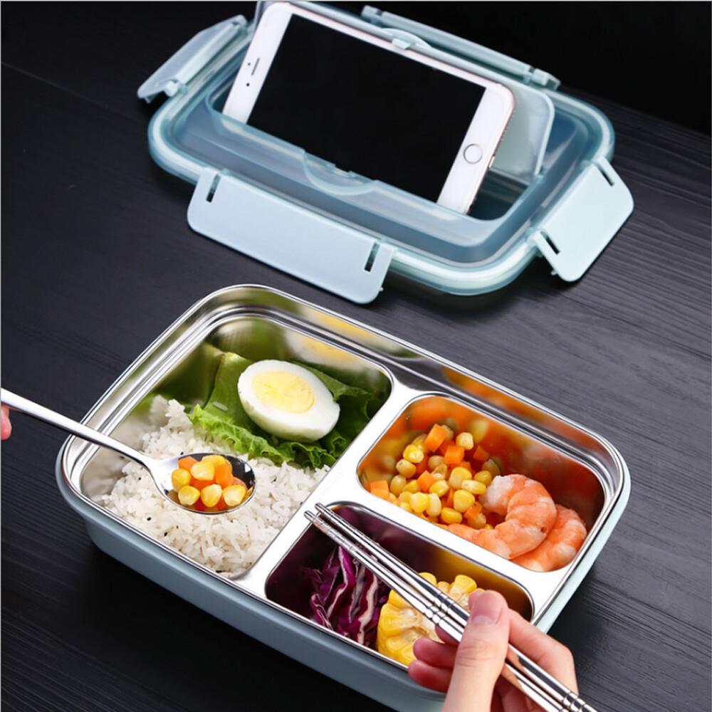 push!餐具用品304不鏽鋼分格保溫餐盒學生便當e138配提袋