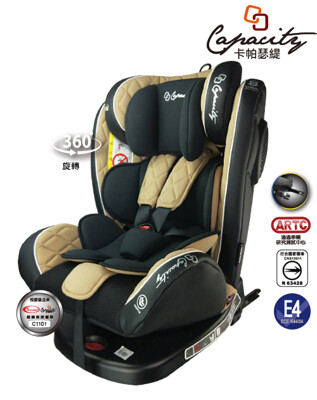 【YIPBABY】Capacity 0-12歲ISOFIX 360度旋轉汽車安全座椅PG09(香檳金 (6.5折)
