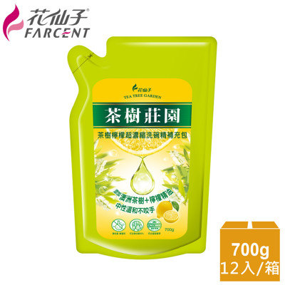 整箱購買【花仙子】茶樹莊園-茶樹檸檬超濃縮700g洗碗精補充包12入 (4.2折)