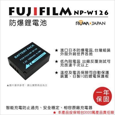 ROWA 樂華 For FUJIFILM 富士 NP-W126 W126 電池 原廠充電器可用 (8.3折)